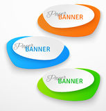 Set of oval colorful paper origami banners Royalty Free Stock Photos
