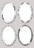 Set of oval frames in black and white design. Empty borders with monoline patterns. Isolated elements Stock Photography