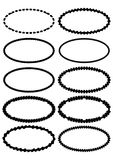 Set of oval label borders, simply shapes in monochrome design, black grunge drawing on white background. Vector EPS 10 Royalty Free Stock Images