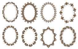 Set of oval ornate frames Royalty Free Stock Images