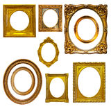 Set of oval picture frames. Isolated on white royalty free stock photo