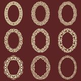 Set of  oval vintage frames  background. Vector design elements that can be cut with a laser. A set of frames made of deco Stock Image