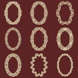 Set of  oval vintage frames  background. Vector design elements that can be cut with a laser. A set of frames made of deco Royalty Free Stock Photo