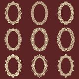 Set of  oval vintage frames  background. Vector design elements that can be cut with a laser. A set of frames made of deco Stock Photo
