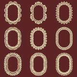 Set of  oval vintage frames  background. Vector design elements that can be cut with a laser. A set of frames made of deco. Rative lace borders Stock Photo