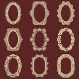 Set of  oval vintage frames  background. Vector design elements that can be cut with a laser. A set of frames made of deco Royalty Free Stock Photography