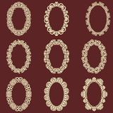 Set of  oval vintage frames isolated background. Vector design elements that can be cut with a laser. A set of frames made of deco Royalty Free Stock Photography
