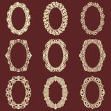 Set of  oval vintage frames isolated background. Vector design elements that can be cut with a laser. A set of frames made of deco Stock Photo