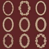 Set of  oval vintage frames isolated background. Vector design elements that can be cut with a laser. A set of frames made of deco Stock Image