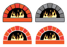 Vector set of ovens with burning fire Stock Photo