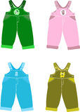 Set of overalls for children. Vector Stock Image