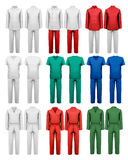 Set of overalls with worker. Design template. Royalty Free Stock Image