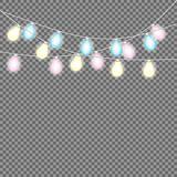 Set of overlapping, glowing string lights.  Christmas glowing lights. Garlands, Christmas decorations. Glowing lights for Party, Holiday, New Year, birthday Stock Photography