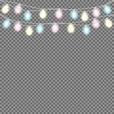 Set of overlapping, glowing string lights.  Christmas glowing lights. Garlands, Christmas decorations. Glowing lights for Party, Holiday, New Year, birthday Royalty Free Stock Photography
