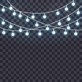 Set of overlapping, glowing string lights on a transparent background. Vector illustration. Template for greeting card, poster, flyer, banner Stock Photography