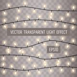 Set of overlapping, glowing string lights on a transparent background. Vector illustration vector illustration
