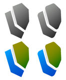 Set of overlapping shield icons / signs. Rounded, edgy and colo Royalty Free Stock Photos