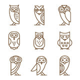 Set of Owl Logos and Emblems Stock Photography