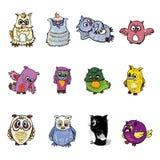 Set of owl Stock Photo