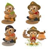 Set Owl Scout manufactures ceramic pot. Potter makes earthen pot Royalty Free Stock Photo