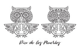 Set of owl sugar Mexican skulls. Vector illustration Stock Images