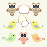 Set of owls and birds with speech bubbles Stock Photos