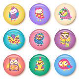 Set of owls cartoon badge template illustration Stock Image