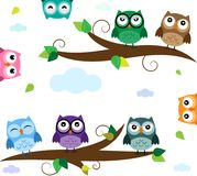 Set of owls in flat design on the tree. Bright emotional owls, different characters on the tree Stock Image