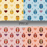 Set of owls and hearts seamless patterns. Nice vector illustration Royalty Free Stock Photos