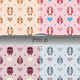 Set of owls and hearts seamless patterns. Nice vector illustration Stock Photo