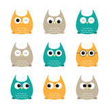 Set of owls Royalty Free Stock Images