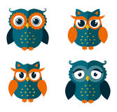 Set of owls isolated on white. Vector illustration. Stock Photography