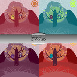 Set of owls in love sitting on a tree. Nice vector illustration Stock Image