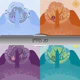 Set of owls in love sitting on a tree. Nice vector illustration Stock Photography