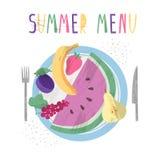 Set owoc i jagody na talerzu ilustracji