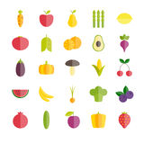 Set owoc i warzywo mieszkania ikony Zdjęcia Royalty Free