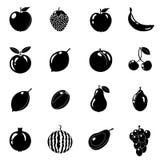Set owoc w różnym stylu Linia, czerń Biały tło również zwrócić corel ilustracji wektora Fotografia Royalty Free
