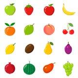 Set owoc w różnym stylu Linia, mieszkanie, kreskówka Biały tło Zdjęcie Stock