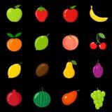 Set owoc w różnym stylu Linia, mieszkanie, kreskówka, czarna Biały tło Obraz Royalty Free
