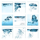 Set of Oxygen Bubbles. Boiling Water Royalty Free Stock Photos