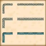 Set ozdobne granicy z dekoracyjnymi narożnikowymi elementami, wektor Zdjęcia Royalty Free