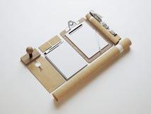 Set oznakuje elementy na białego papieru tle rzemiosło Fotografia Stock