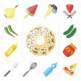 Set pączek, pizza, woda, śmignięcie, łyżka, dżem, musztarda, Cucum royalty ilustracja