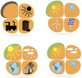 Set płascy projektów pojęcia - zielona energia słoneczny Zdjęcie Stock