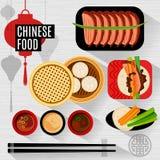 Set płascy wektorowi elementy dla chińskiej restauraci Zdjęcie Stock