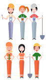 Set płascy wektorowi ilustracj kobiet pracownicy i budowniczy ilustracji