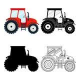 Set płaska czerwień, czerń, cienieje kreskowych ciągniki na białym tle Uprawiać ziemię pojazd ikony maszynerię, rolniczą ilustracja wektor