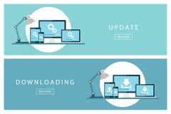 Set płaska projektów pojęć ściągania i aktualizaci technologia Instaluje nowego oprogramowanie, system operacyjny Fotografia Stock
