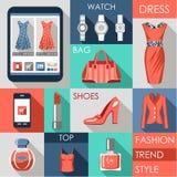 Set płaska projekt mody ikona Obraz Stock