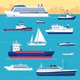 Set płaski jacht, hulajnoga, łódź, ładunku statek Obrazy Stock